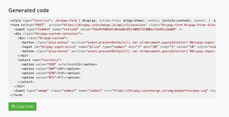 HTML Code Bitcoin Donation Button