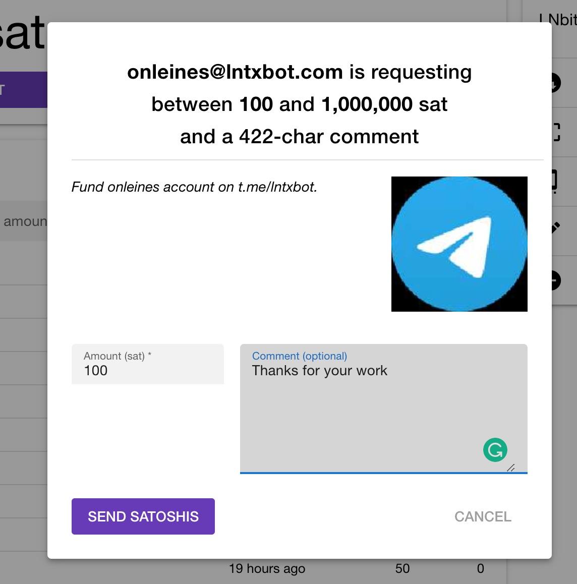lnbits lntxbot lightning address