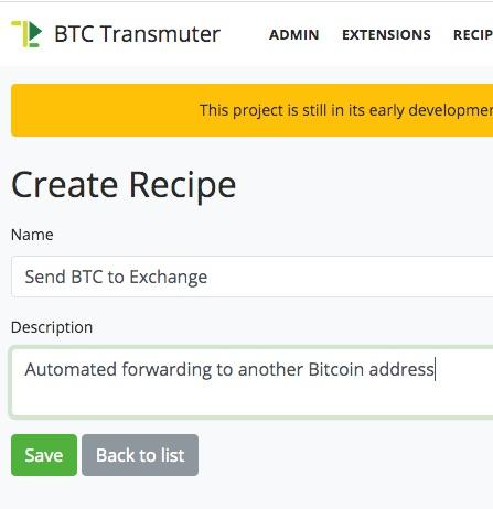 Erstelle ein Recipe bei BTCPay Transmuter