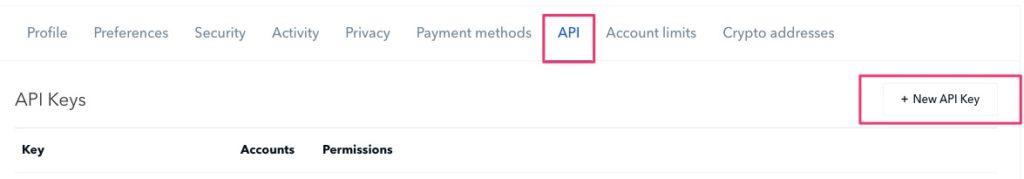 API bei Coinbase beantragen