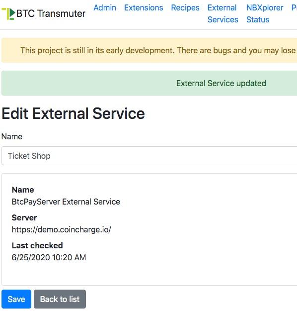 Edit External Service