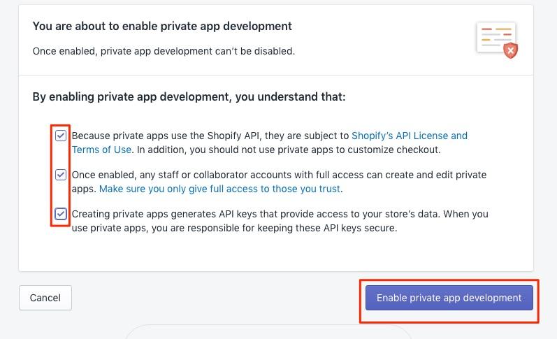 Bitcoin Shopify enable private App development