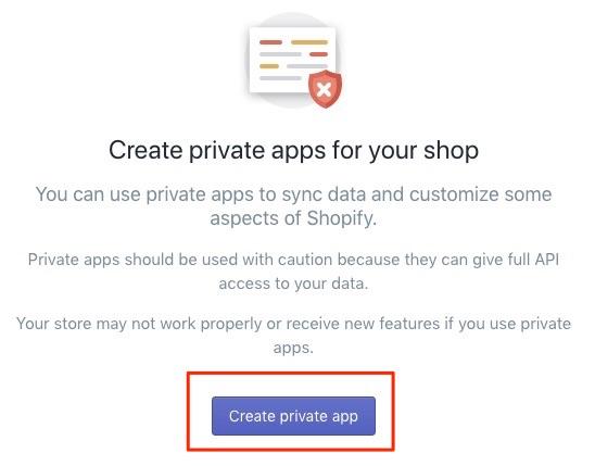 Bitcoin Shopify create private App