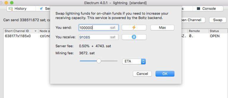 Electrum Lightning Wallet Swap