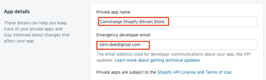 Bitcoin Shopify app details