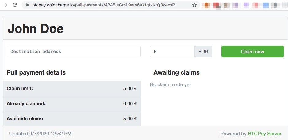 Bitcoin Auszahlung Pull Payment Claim now
