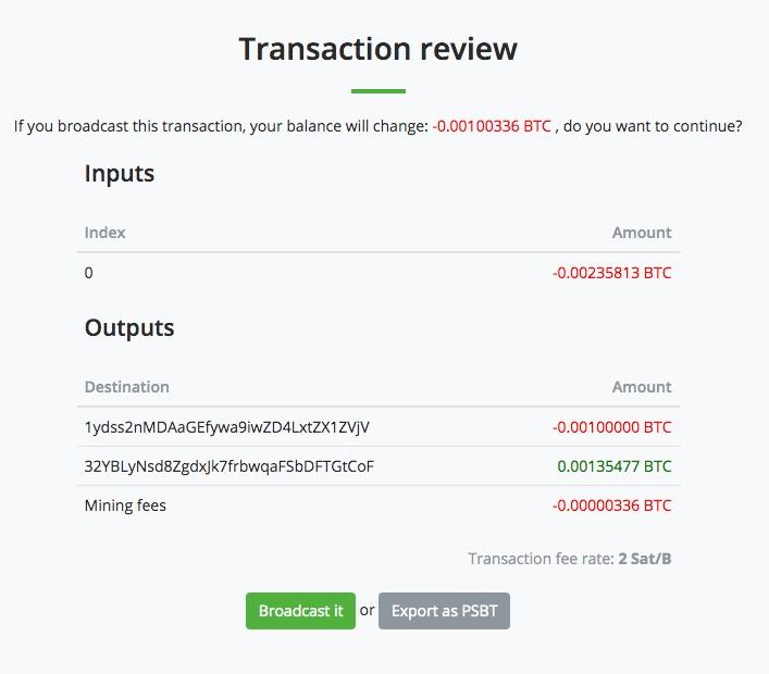 Bitcoin Auszahlung Transaktionsübersicht