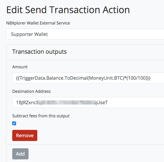 BTC Transmuter Send Transaction Action