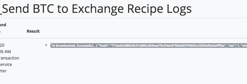 Logfile für erfolgreiche Bitcoin Weiterleitung zu Binance