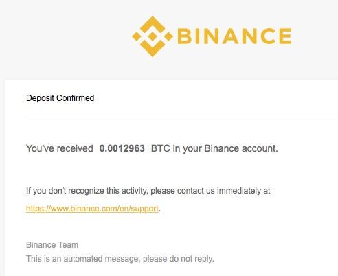 Binance Bestätigung für Bitcoin Einzahlung