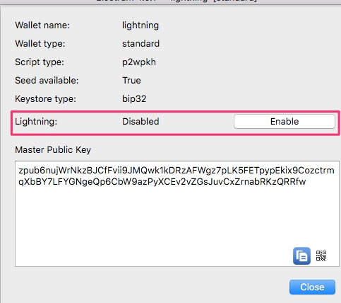 Electrum Lightning Wallet enable Lightning