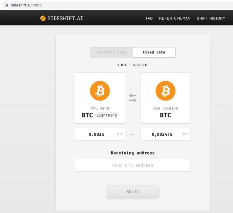 Sideshift Lightning Bitcoin