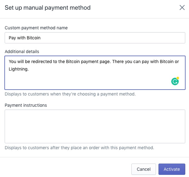 Shopify pay with Bitcoin