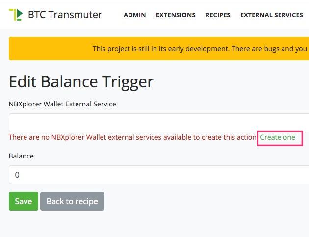 Erstelle einen Balance Trigger bei BTCPay Transmuter