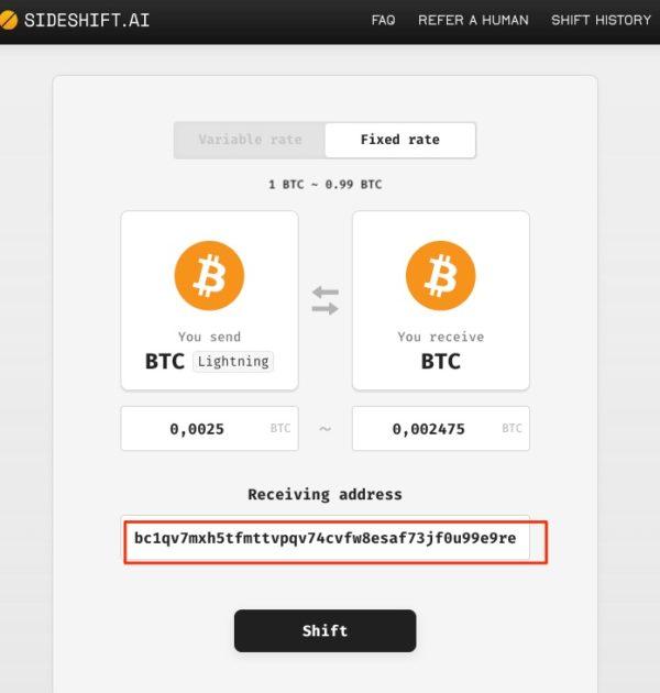 Sideshift Bitcoin Adresse