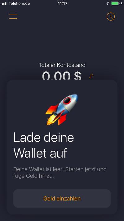 ZAP Wallet Wallet aufladen