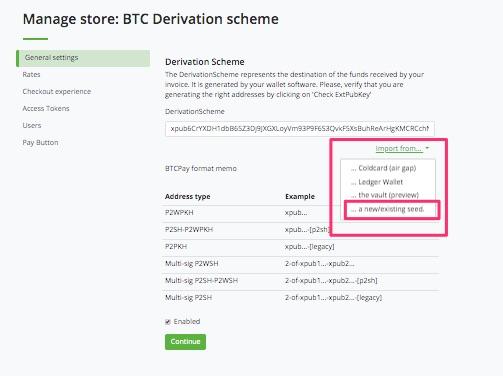 Einen Seed in der BTCPay Wallet erstellen