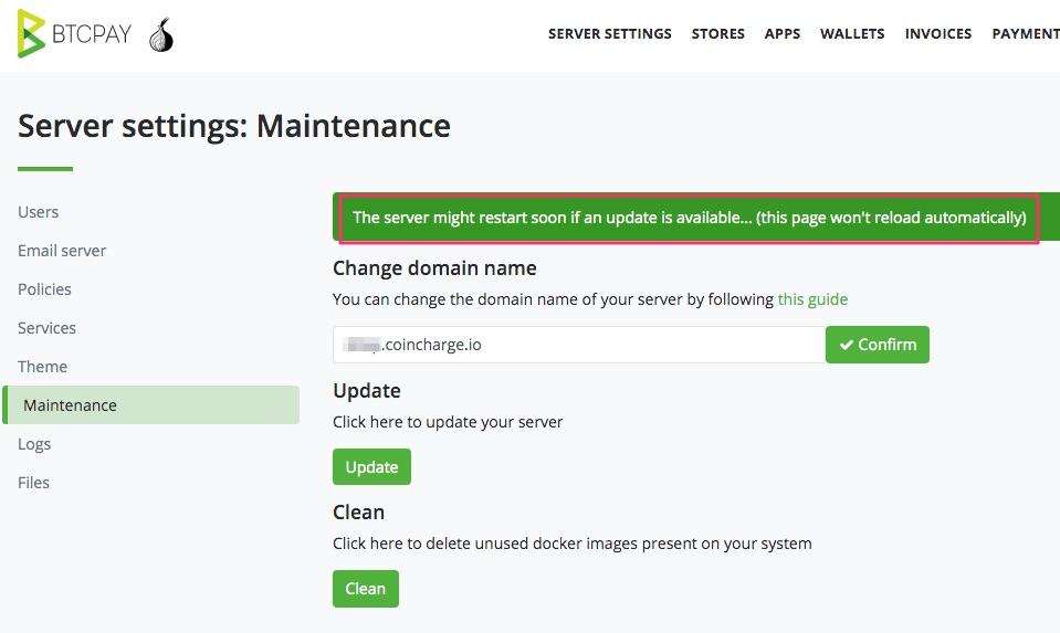 BTCPay Server Update Maintenance