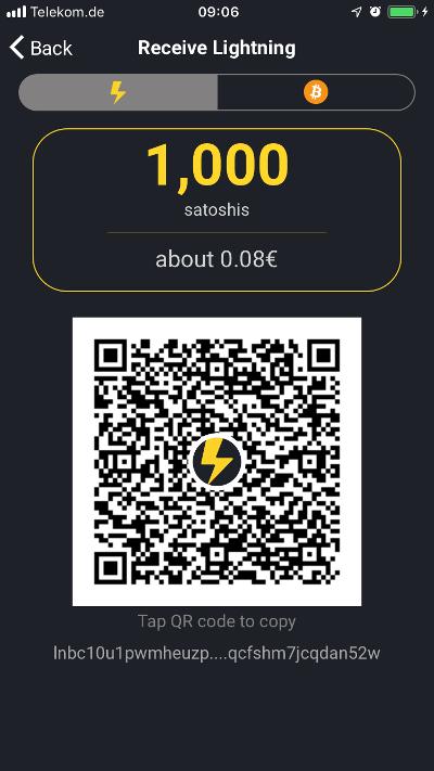 Wallet of Satoshi Lightning received
