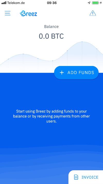 Breez Wallet Startbildschirm