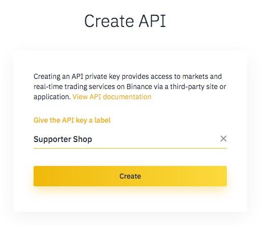 API Erstellen bei Binance