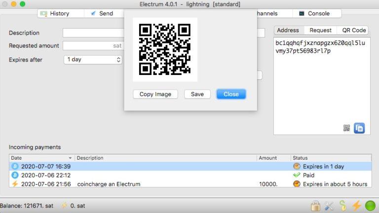 electrum Lightning Wallet per On-Chain aufladen