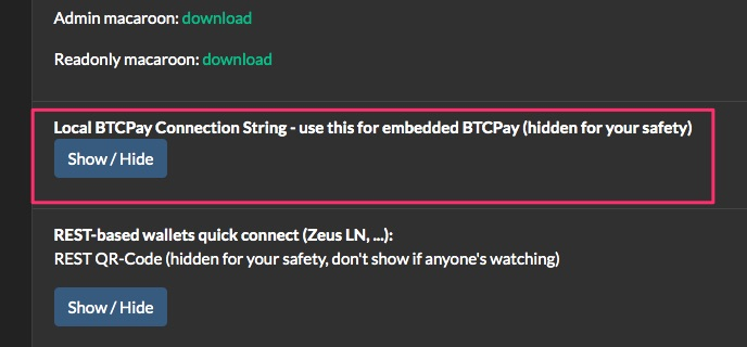 Nodl Local Btcpay connection string