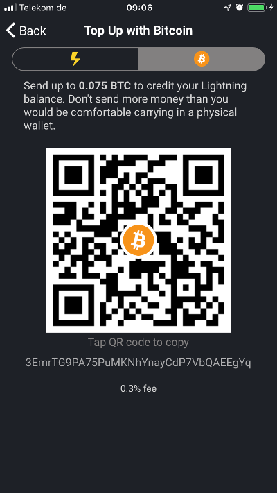 Top up Wallet of Satoshi with Bitcoin