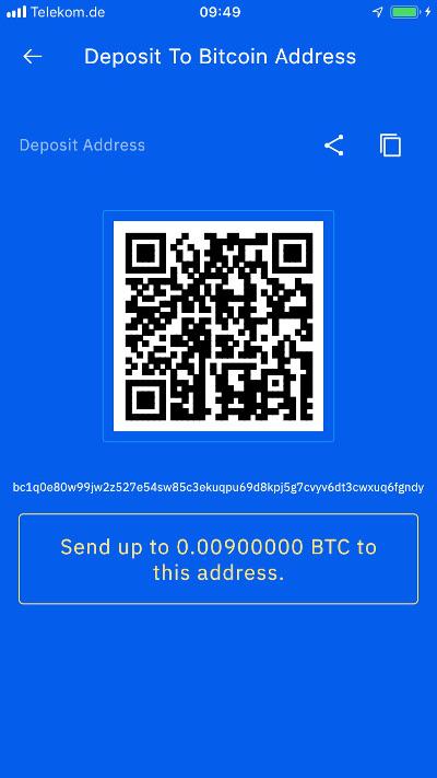 Breez Wallet mit Bitcoin aufladen