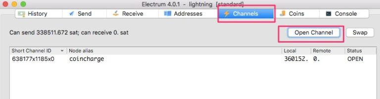 Electrum Lightning Wallet Open Channel
