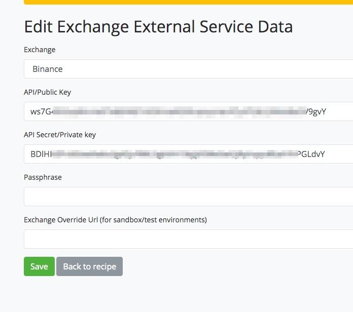 API Daten von Binance bei BTCPay Transmuter hinterlegen
