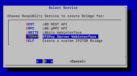 IP2TOR BTCPay Server Webinterface