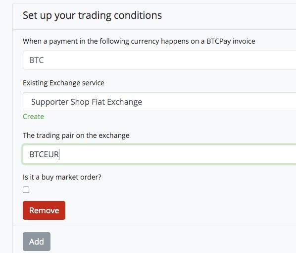 Trading Conditions bei BTCpay Transmuter festlegen