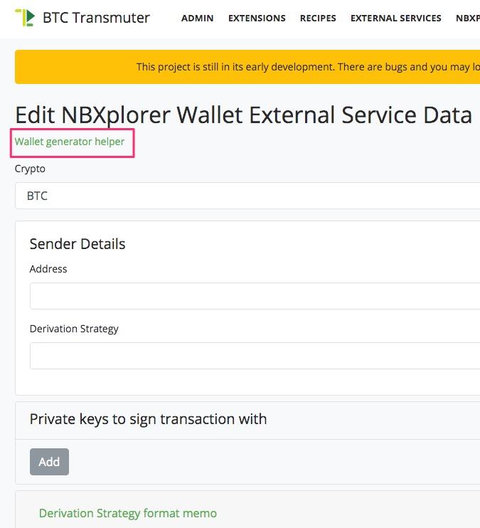 Edit NBXplorer Wallet Generator BTCPay Transmuter