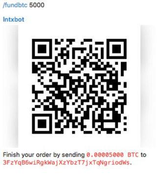 lntxbot Aufladen mit Bitcoin