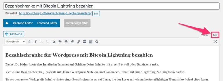 Bezahlschranke mit Wordpress Lightning