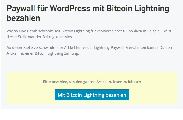 Paywall mit Lightning bezahlen