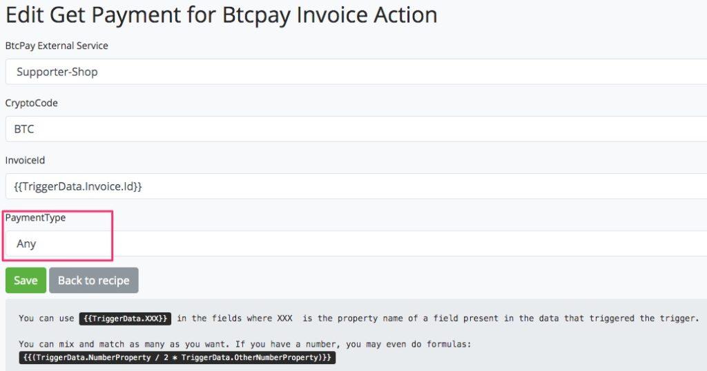 Abfrage nach Rechnung bei BTCPay Transmuter