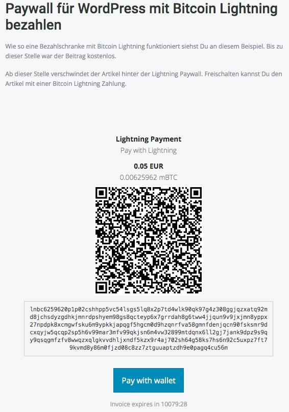 Paywall die Bezahlschranke für wordpress mit_Lightning_Zahlung