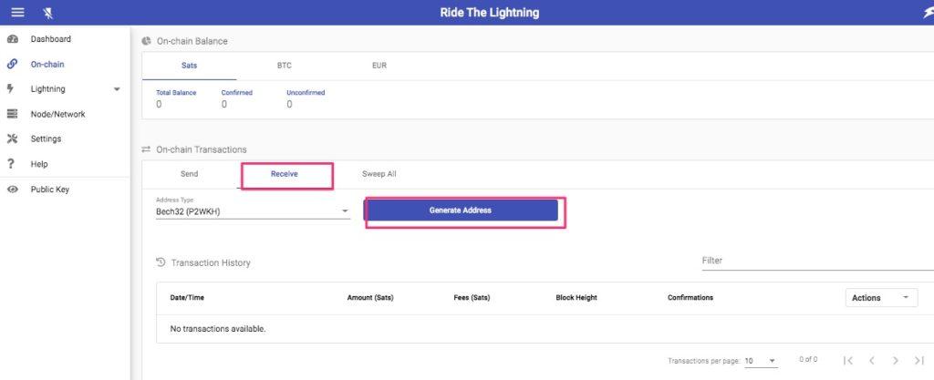 Ride the Lightning Bitcoin Adresse erstellen