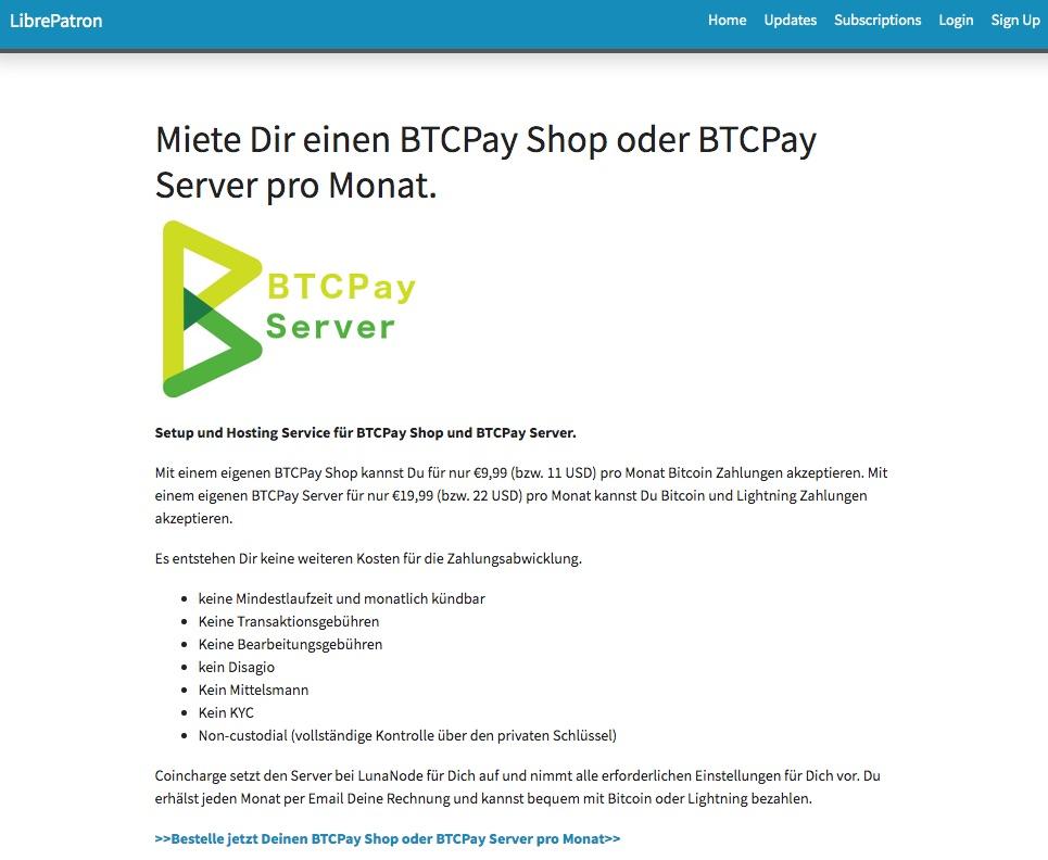 Wiederkehrende Bitcoin Zahlung für Abo und Mitgliedschaften