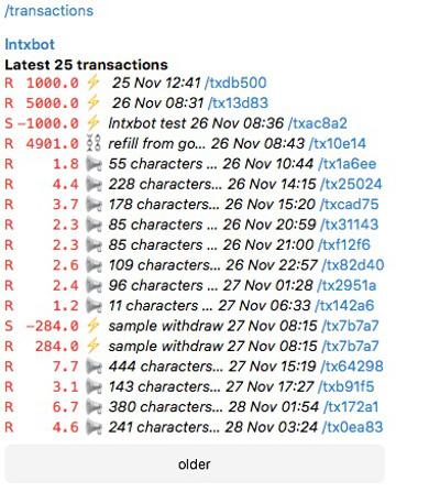 lntxbot Transaktionsübersicht