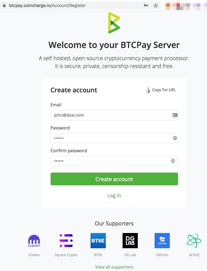 BTCPay Server Register