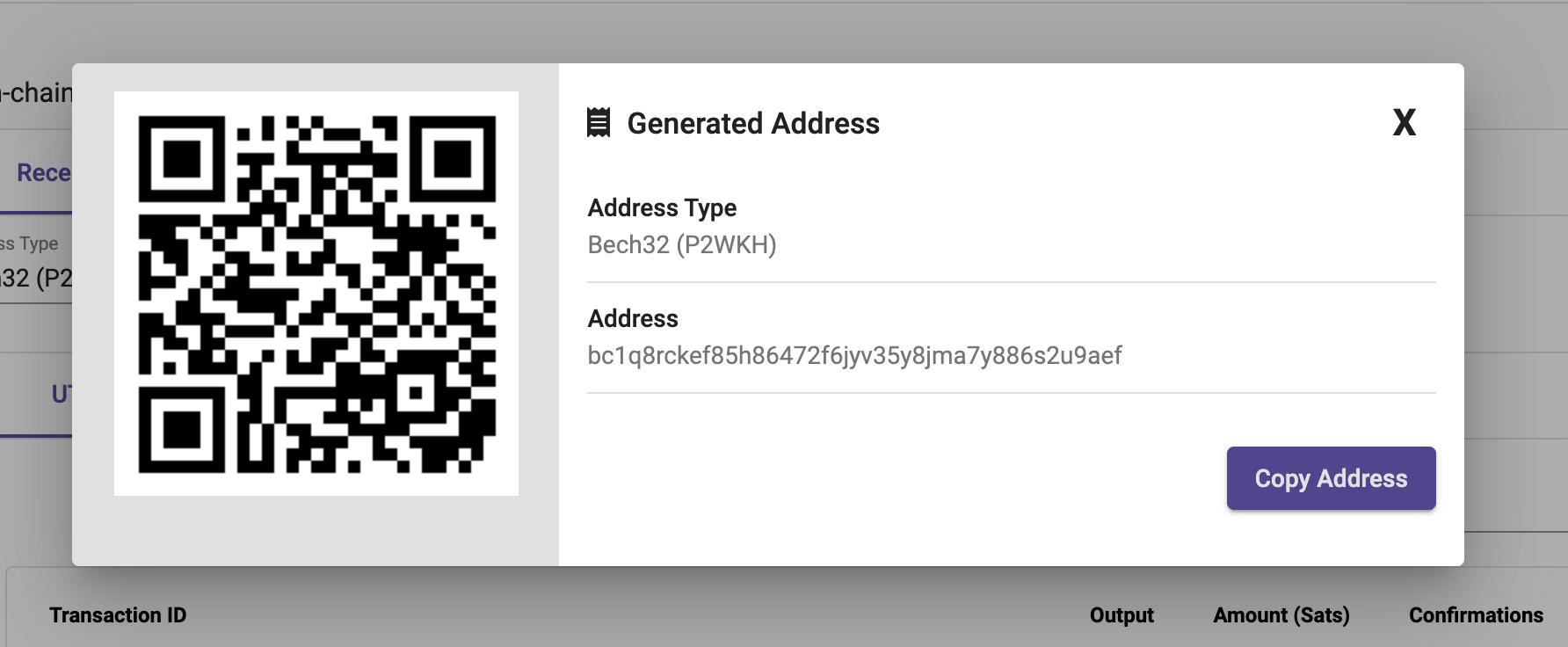 Bitcoin Adresse per RTL erstellen
