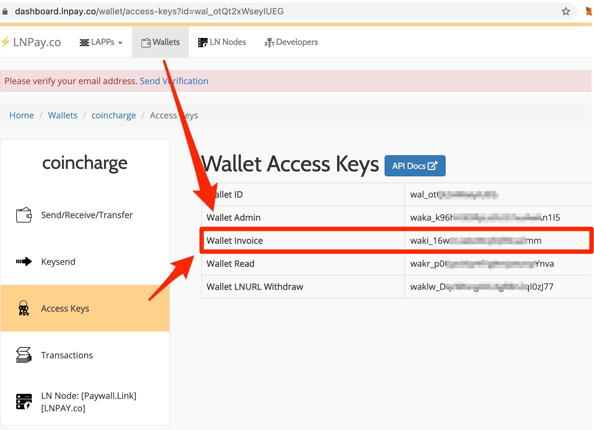 LNPay Wallet Invoice Key WAKI