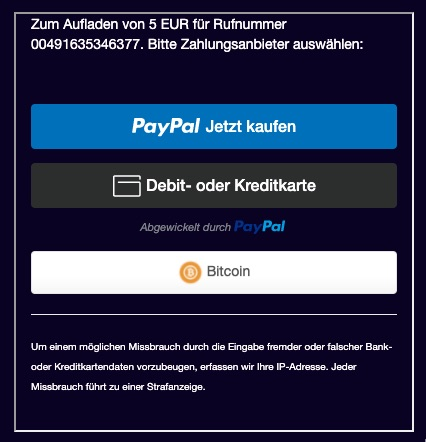 Bitcoin payment by phone