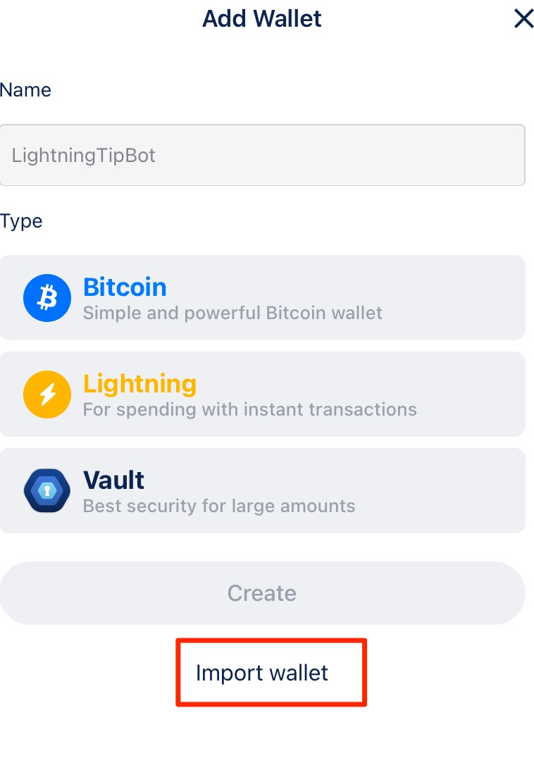 BlueWallet import a wallet